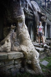 Barbara next to a root that was taking over one of the temples