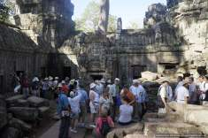 Heaps of people taking over our quiet morning walk though the temple