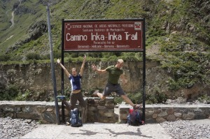 Getting air at the beginning of the Inka Trail