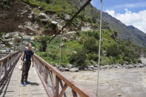 Barbara crossing the first bridge