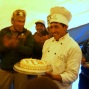 Chef brings in the cake