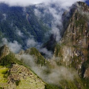 Huayna Picchu is the peak in the back