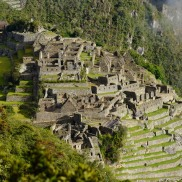 Sun hitting the walls of Machu Picchu