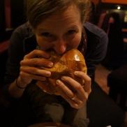 Barbara doing work on her burger